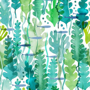 seaweed and fishes watercolour ocean scene