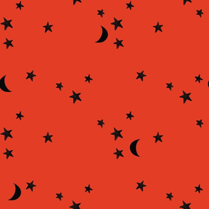 red orange stars and moons