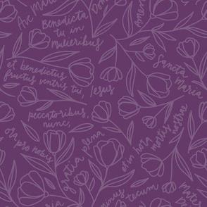 Ave Maria Prayer on Purple (Advent or Lent)