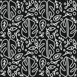 White Monstera on Dark Background Pattern