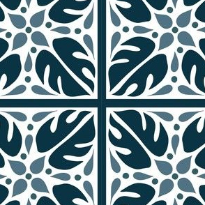 Monstera Tile Pattern in Blues