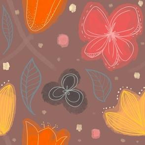 Cheerful Floral Mauve Pink Orange