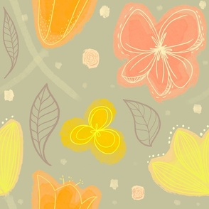 Cheerful Floral Grey Yellow Pink