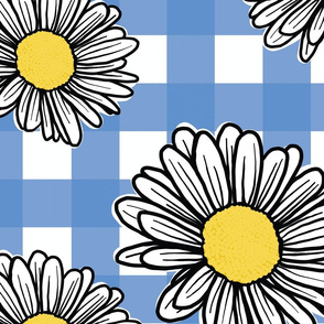 Daisy's on Blue Gingham