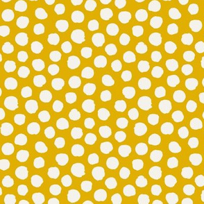 Golden yellow with off white spots