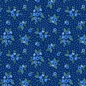 Wild Blueberries - navy blue - tiny scale