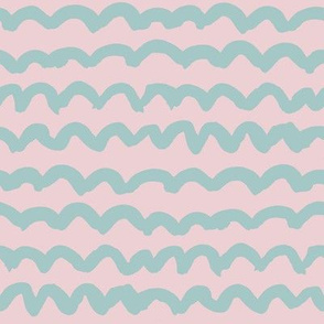 Light blue loops squiggles on light dusty pink