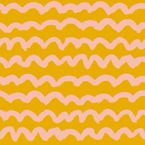 Light coral loops squiggles on golden yellow