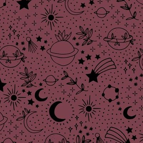 Happy earth day for boho universe lovers stars moon and green planet maroon red wine berry black