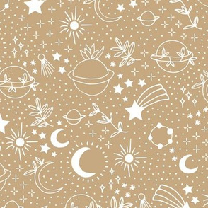 Happy cosmos earth day for boho universe lovers stars moon and green planet mustard honey yellow white neutral