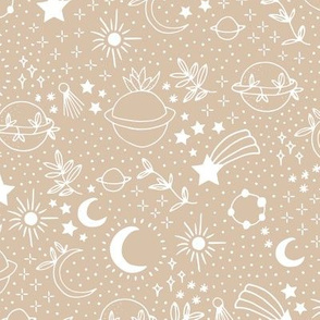 Happy cosmos earth day for boho universe lovers stars moon and green planet moody camel beige sand white