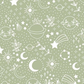 Happy cosmos earth day for boho universe lovers stars moon and green planet mint green white