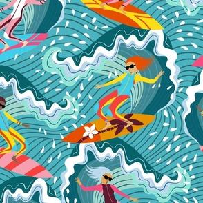 surfer girls ocean splash // large scale