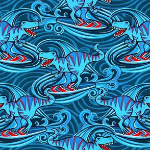 Surfing T-Rex Dinos