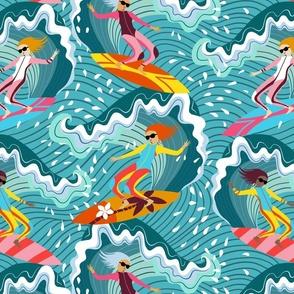 surfer girls ocean splash // small scale