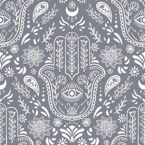 Hamsa outlines grey violet