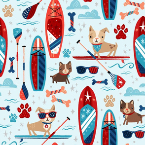 SUP Dog - Patriotic Paddleboard Pups // Stand Up Paddle Board Dogs © ZirkusDesign // American, Summer, Fourth of July, Pets, Lake, Sports
