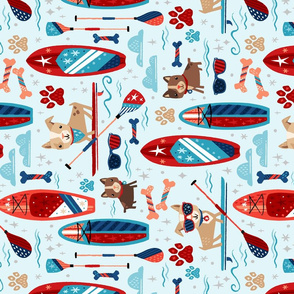 Horizontal SUP Dog - Patriotic Paddleboard Pups // Stand Up Paddle Board Dogs © ZirkusDesign // American, Summer, Fourth of July, Pets, Lake, Sports, Tea Towel