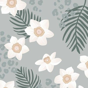 Tropical boho garden hawaii hibiscus flowers and palm leaves leopard spots lush jungle design soft gray olive green blue