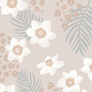 Tropical boho garden hawaii hibiscus flowers and palm leaves leopard spots lush jungle design soft gray mist green white