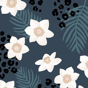 Tropical boho garden hawaii hibiscus flowers and palm leaves leopard spots lush jungle design night navy blue stone white