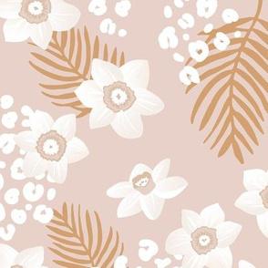 Tropical boho garden hawaii hibiscus flowers and palm leaves leopard spots lush jungle design sand blush ochre yellow