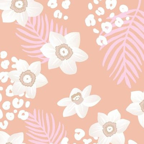 Tropical boho garden hawaii hibiscus flowers and palm leaves leopard spots lush jungle design soft peach coral blush pink girls