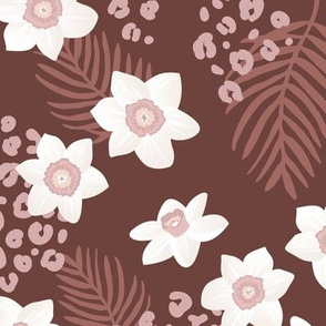 Tropical boho garden hawaii hibiscus flowers and palm leaves leopard spots lush jungle design red wine maroon stone red
