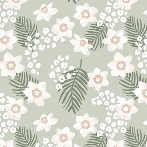Tropical boho garden hawaii hibiscus flowers and palm leaves leopard spots lush jungle design green sage olive white SMALL