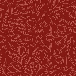 Ave Maria Prayer in Red (Feast Day Color)