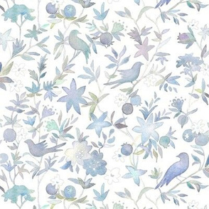 Forest Garden Watercolor Fabric   Forest birds, blue floral fabric, blue bird print fabric from original watercolor painting.