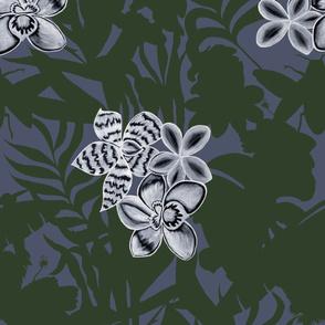 Ze Jungle Orchid Green on D Blue