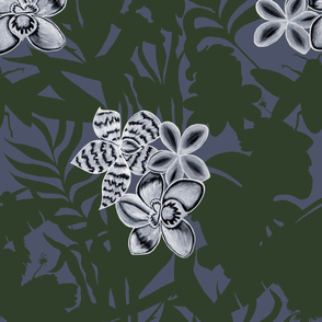 Jungle Orchid Green on Blue