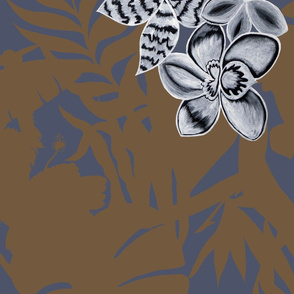 Ze Jungle Orchid Brown on Blue