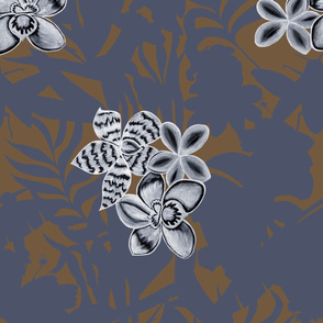 Ze Jungle Orchid Blue on Brown