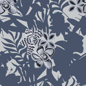 Ze Jungle Orchid Blue on White