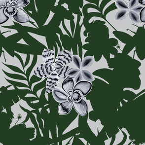 Jungle Orchid Green on White