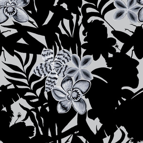 Jungle Orchid Black on White