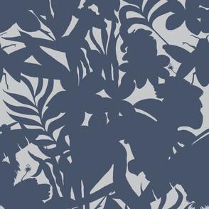 Ze Jungle Shadows Blue on White