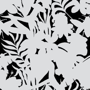 Ze Jungle Shadows White on Black