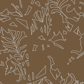 Ze Jungle Abstract White on Brown