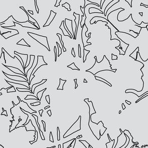 Ze Jungle Abstract Wallpaper Black on White