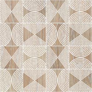Boho Tribal Woodcut - Small Scale Neutral Geometric Shapes on Natural Wood