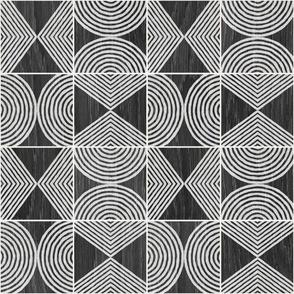 Boho Tribal Woodcut - Small Scale Neutral Geometric Shapes on Ebony Wood
