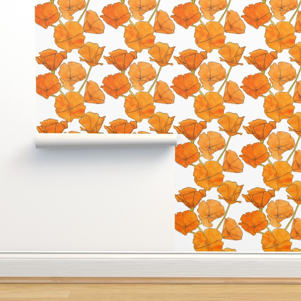 Isobar Durable Wallpaper featuring Poppy_pattern by studiodena