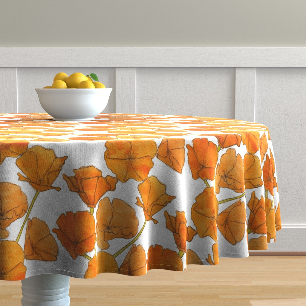Malay Round Tablecloth featuring Poppy_pattern by studiodena