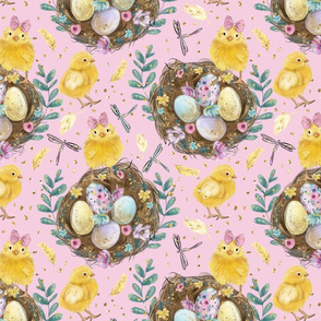 Easter Chick Eggs Nest Dragonflies Floral