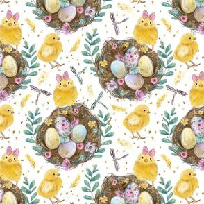 Easter Egg Nest Chick Dragonfly Flowers