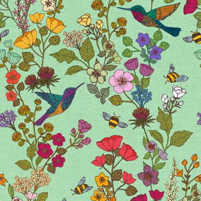 Hummingbirds and Bees {Green 344}