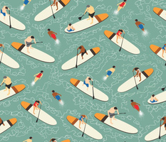 Paddle Boards and Swimmers